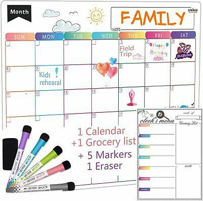 Dry Erase Calendar Whiteboard. Set Of 2 Magnetic Calendars For Kitchen Refrigera