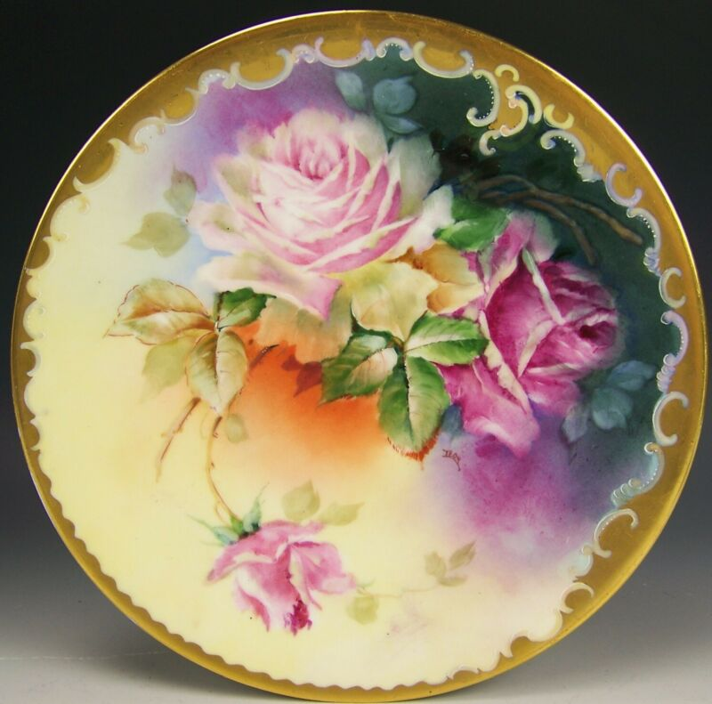 LIMOGES PICKARD HAND PAINTED ROSES PLATE ARTIST SIGNED