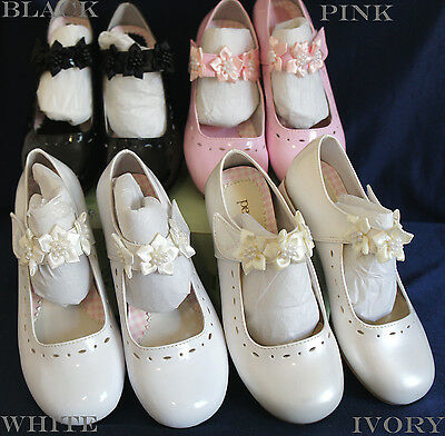 G312 Flower Girl/Party DRESS SHOES IVORY/WHITE/PINK/BLACK 5-8 Years Old Wedding](Ivory Girls Dress Shoes)