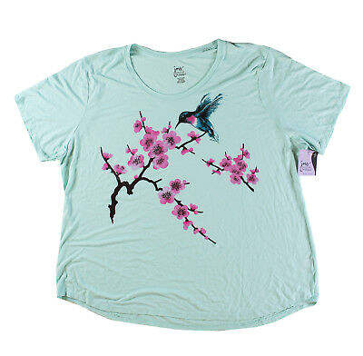 Just My Size JMS Plus Size Green  Tee Shirt Bird  Short Sleeve Top  2X 3X  4X 5X