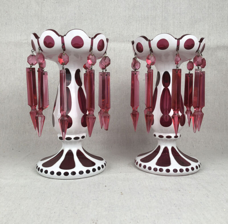 Antique Pair of Victorian Mantle Lusters Bohemian Czech White & Cranberry Glass