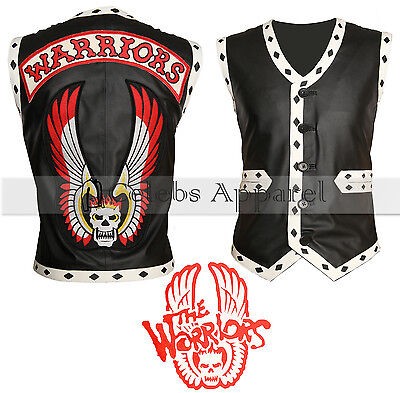 The Warriors Halloween Costume (The Warriors Movie Black Biker Leather Vest Mens Halloween Costume)