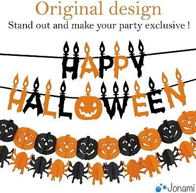 Jonami Halloween Decorations Indoor Set Halloween Banner Pumpkin Black Orange