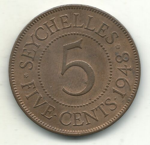 HIGH GRADE AU/UNC 1948 SEYCHELLES 5 CENTS COIN-MAY195