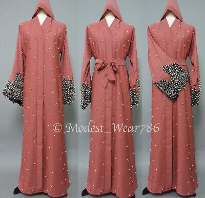 Dubai Open Pearl Abaya Kimono Cardigan Muslim Women Maxi Dress Apricot