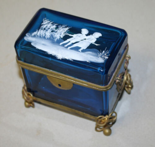 Antique Teal Blue Mary Gregory Footed Jewel Casket Jewelry Box