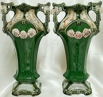 Antique Edwardian Pair of Twin Handled Vases 28.25cm
