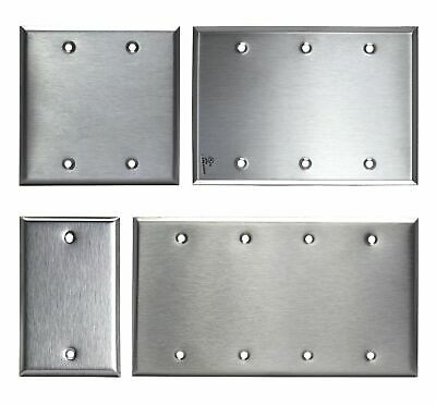 Brushed Stainless Steel Cover - Brushed Stainless Steel Blank Outlet Cover / No Device Wall Plate 430 SS