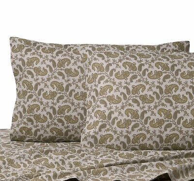 NEW! La Rochelle Heather Ground Flannel Grey PAISLEY 4 Pc Sheet Set CAL - KING  for sale  Urbana