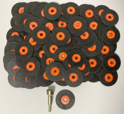 "100 PC LOT OF 2"" GRINDING / CUT-OFF WHEELS & MANDREL FOR METAL 2"" x 1/8"" x 1/4"""