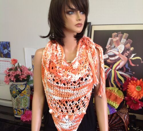 Hand Knit Triangle Lace Shawl Scarf Designer Fashion Spring Summer Hip Orange