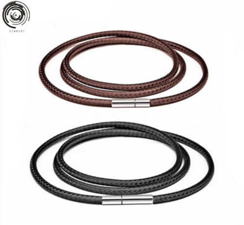 """Mens genuine 3mm Wax cord choker necklace stainless steel Grain clasp 7/""""-30/"""""""