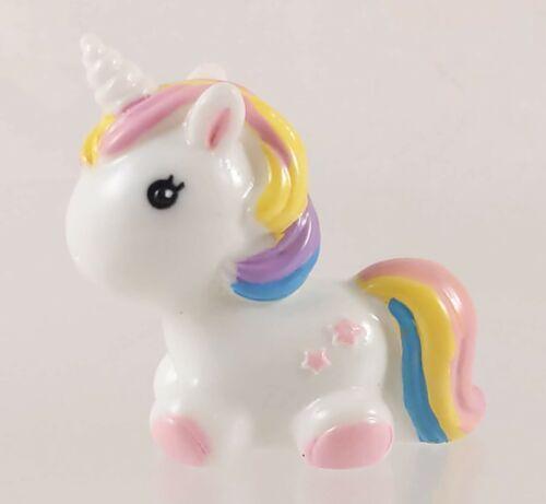 Mini 4cm Long Resin Unicorn Pony Figurine White w/ Multicolor Mane/Tail