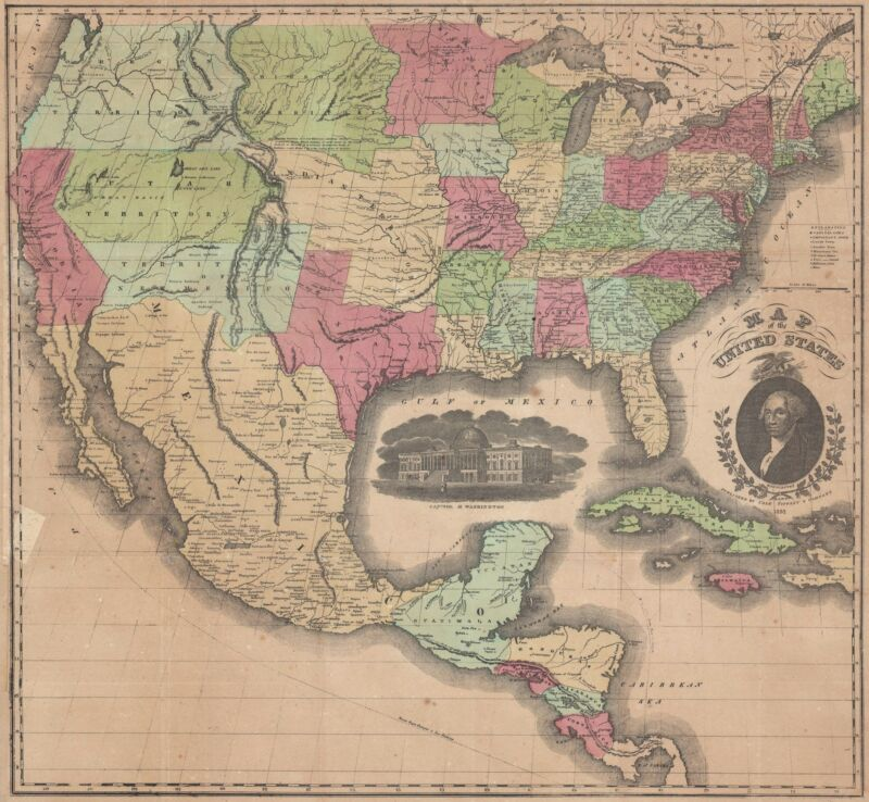 1851 Case Tiffany and Company Map of the United States