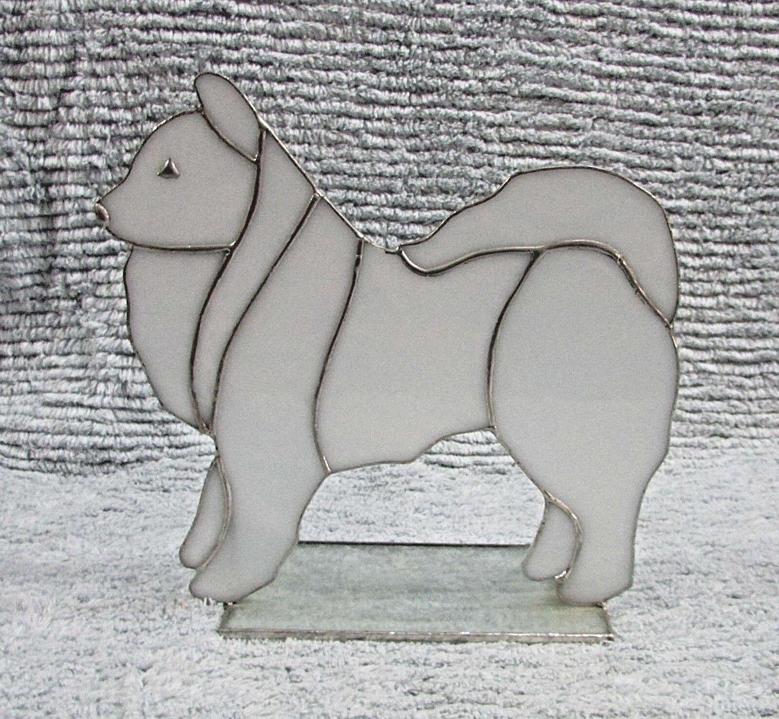 Art Mosaic Tiffany Style White Slag Acrylic Malamute Dog Window Light FREE S/H
