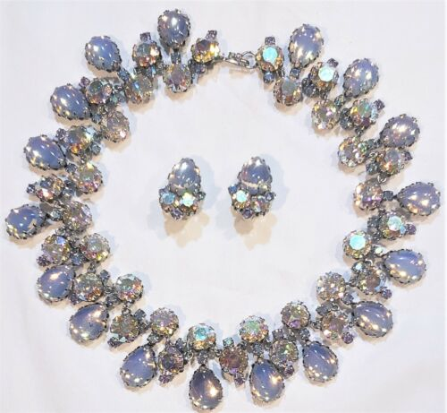 1920s Era Antique Austrian Opalescent AB Crystal Necklace & Earrings Signed