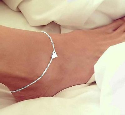 ☆ Silberne Fußkette | Herz Anhänger | Damen | 21,5-26,5cm | Silber Edelmetall ☆