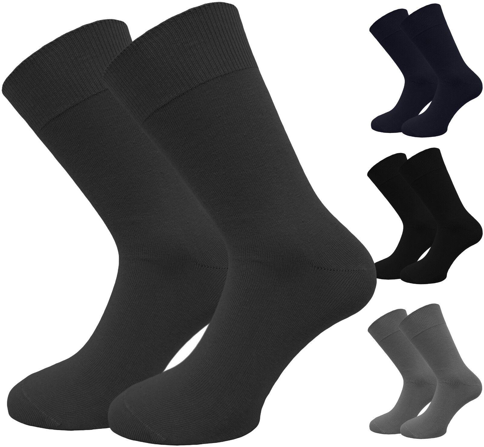 100% Baumwolle 10 Paar Socken für Männer grau und blau handgekettelt Komfortbund
