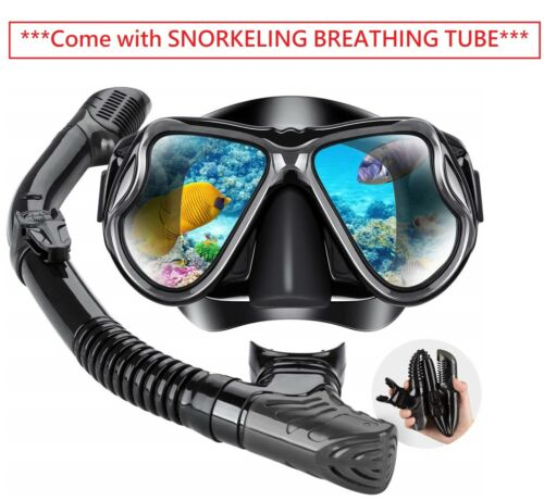 Adult Tempered Glass Diving Set Scuba Anti-Fog Goggles and Snorkeling Mask Tube