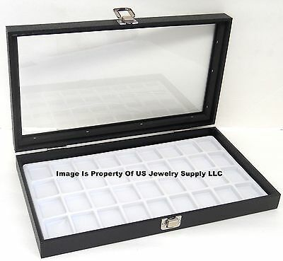 1 Glass Top Lid White 32 Space Jewelry Display Box Case Pendant Pin Brooch