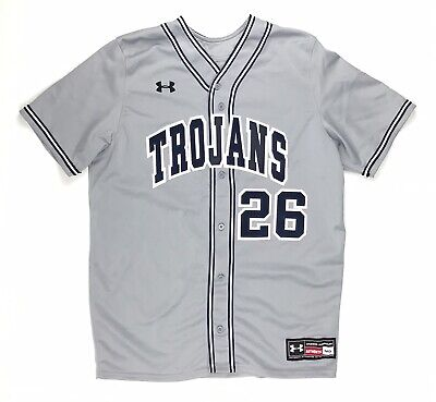 New Under Armour Trojans Ignite V-Neck Full Button Baseball Jersey Men's M Gray, used for sale  Shipping to Nigeria
