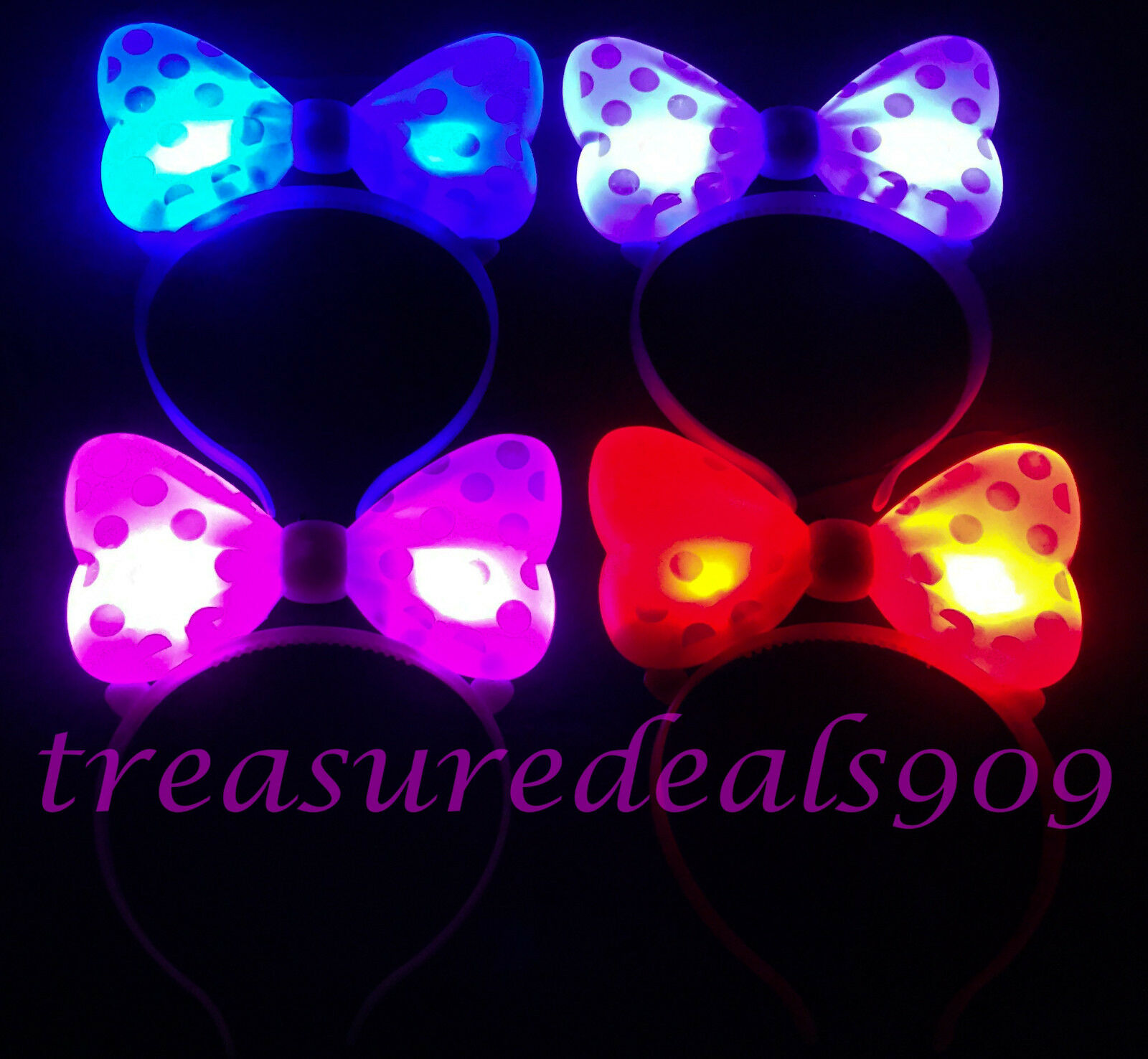 14 PCS LIGHT UP MINNIE MICKEY MOUSE BOWS POLKA DOTS HEADBANDS MULTI COLOR EARS
