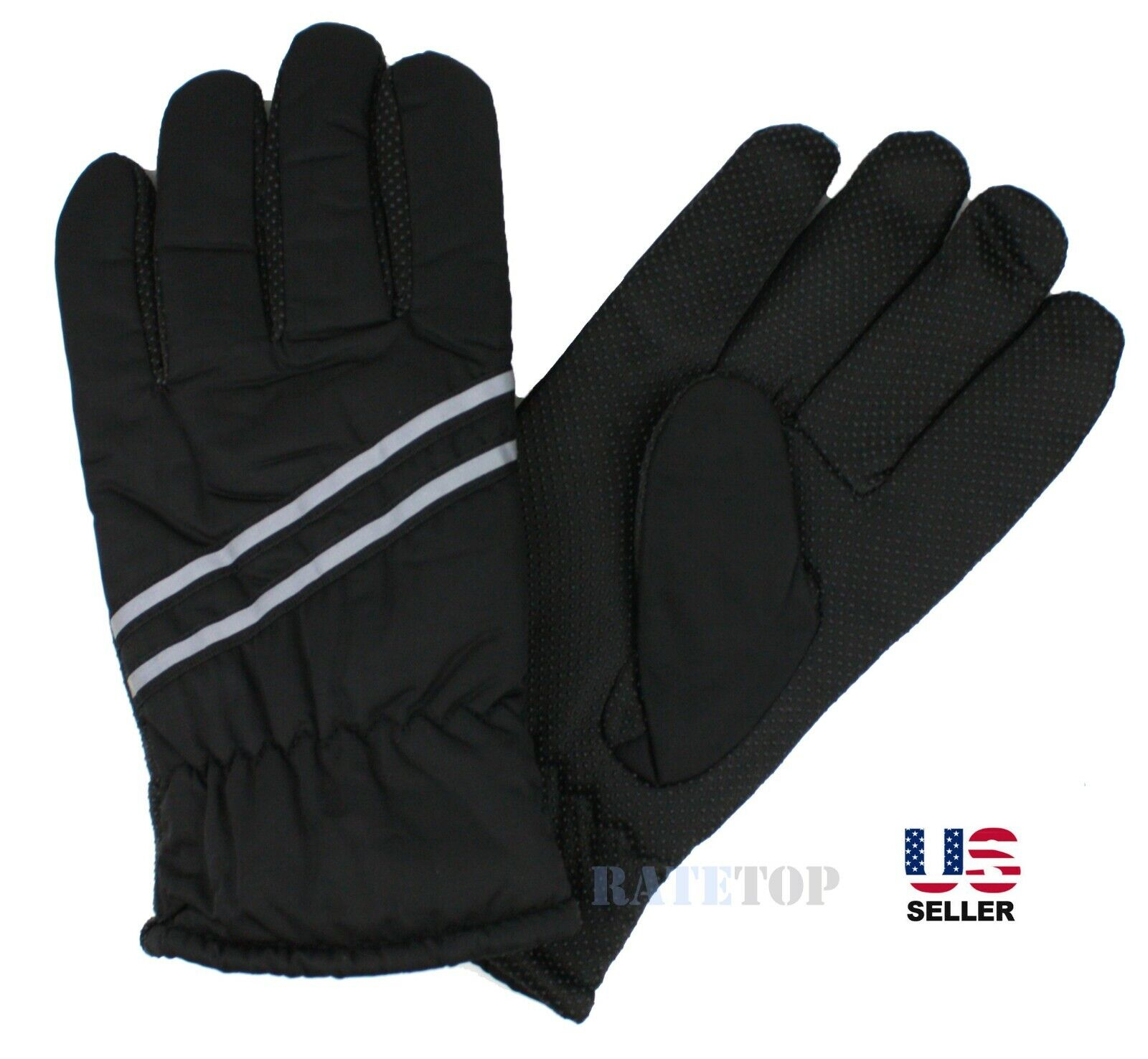 Mens Winter Thermal Fleece Lined Waterproof Reflective Ski Snow Gloves Mitten Clothing, Shoes & Accessories