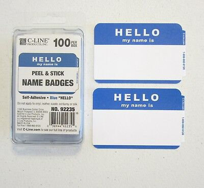 100 Blue Hello My Name Is Name Tags Labels Badges Stickers Peel Stick Adhesive