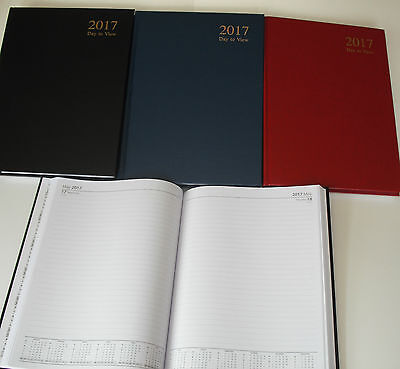 2017 A4 Diary Day to Page Desk Diary Hard Backed Diary