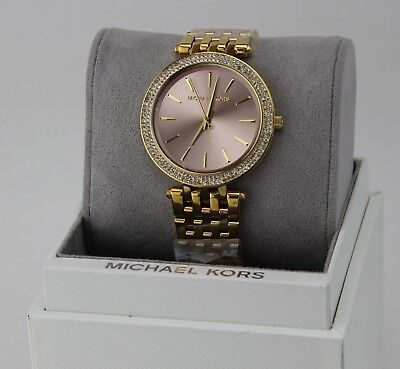 NEW AUTHENTIC MICHAEL KORS DARCI ROSE GOLD PINK CRYSTALS WOMENS MK3507 WATCH
