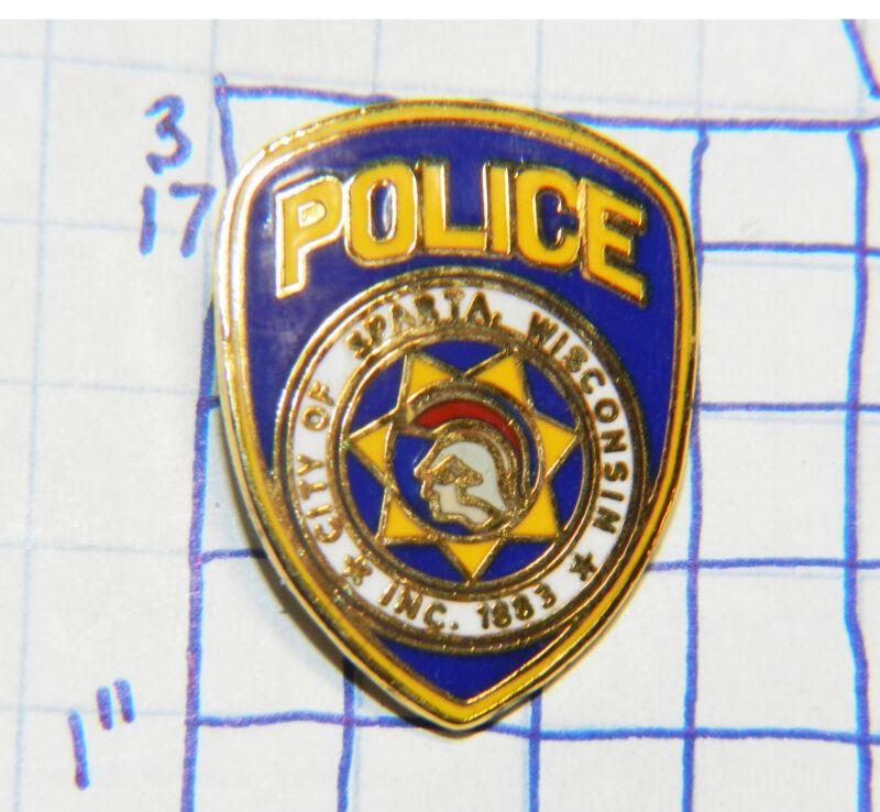 "WISCONSIN, SPARTA POLICE DEPT METAL LAPEL MINI BADGE 1"" PIN"