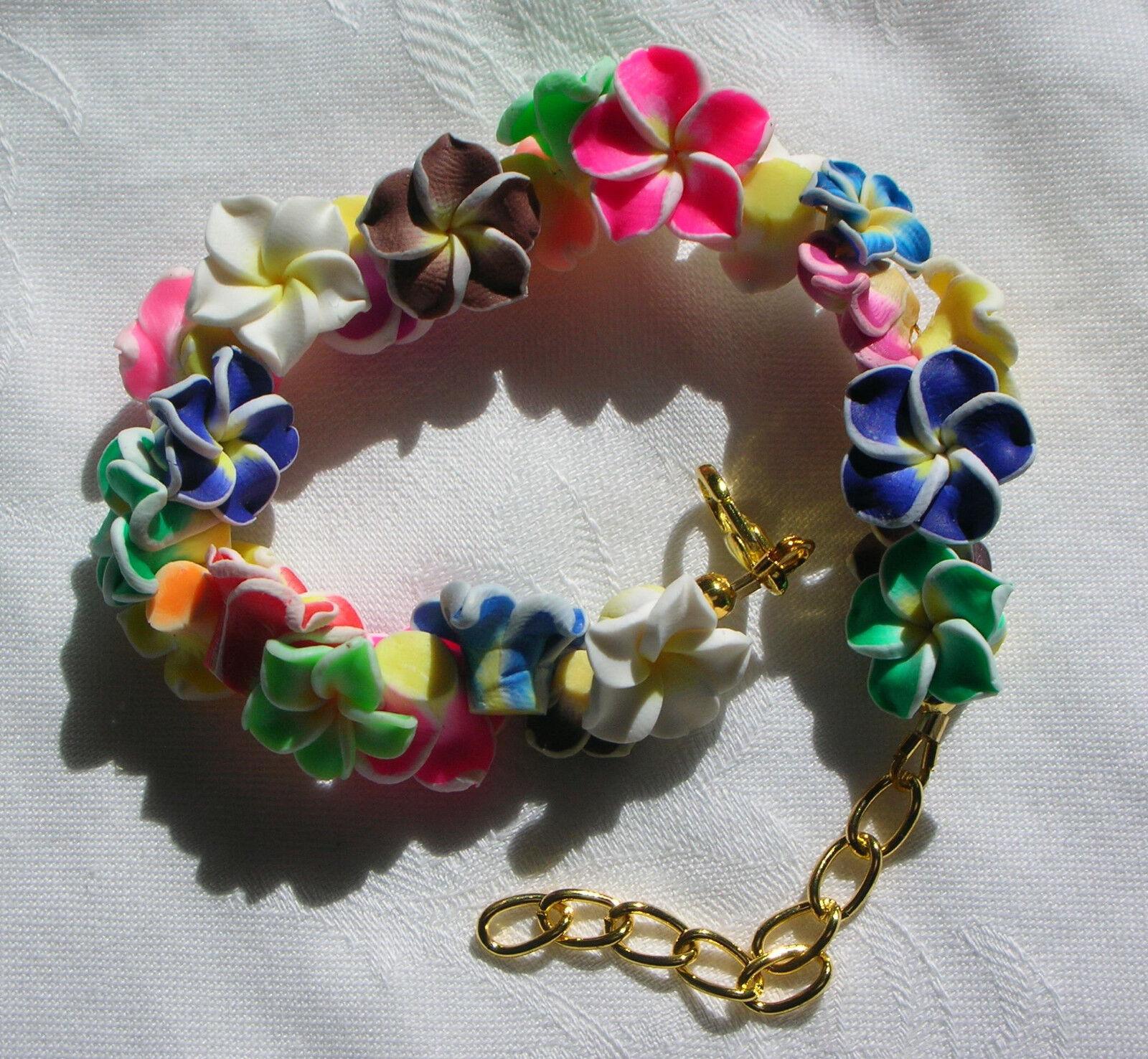 Armband Armreif Hawaii Lei Hibiskus Fimo Blüten Blumen bunt StyleTeacherAgency
