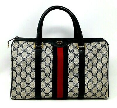 Vintage Gucci Ophidia Web Stripe Boston Navy Canvas Leather Hand Bag Authentic