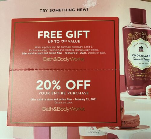2 Bath And Body Works Coupons EXPIRES 2/21/2021 - $6.10