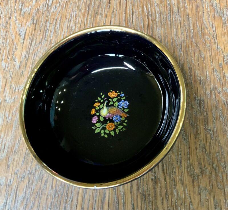 Dakas Rhodos Black Peacock Bowl Small Jewelry Holder 24 K Gold  Black Greece