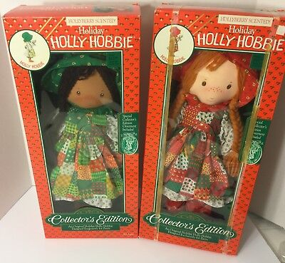 """Vintage 1988 HOLIDAY African American HOLLY HOBBIE 18.5"""" DOLL Christmas lot"""