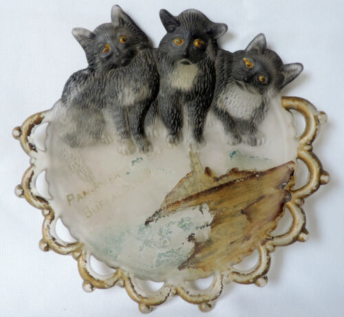 Antique 1887 Pan American Expo 1901 Buffalo, NY Reverse Painted Plate Cats
