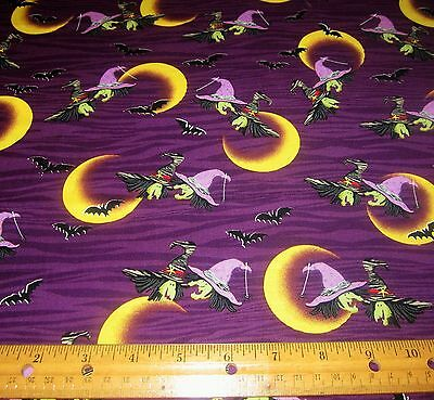 1 yard of WITCHES BATS CRESCENT MOONS on PURPLE 100% Cotton Fabric