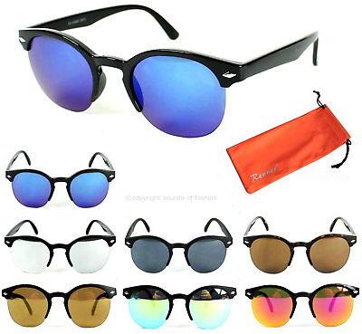 Damen Sonnenbrille Rund Nickelbrille Verspiegelt Modern Retro Vintage Hippie N9