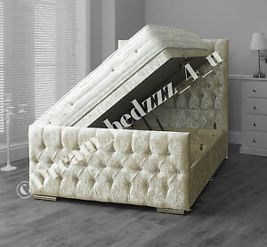 Crushed velvet storage wood ottoman divan bed upholstered for Velvet divan bed frame