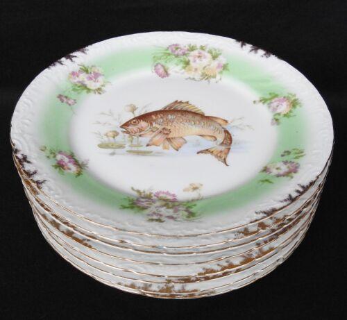 """Vintage Austria Set of 8 Fish / Game Porcelain Plates , 9"""" diameter, gold accent"""