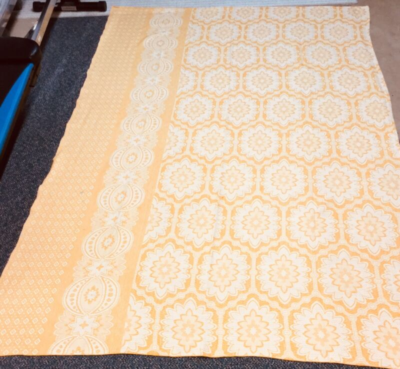 Vintage 40s Bed Coverlet/Tablecover Gold White CUTTER Small Spots Cotton