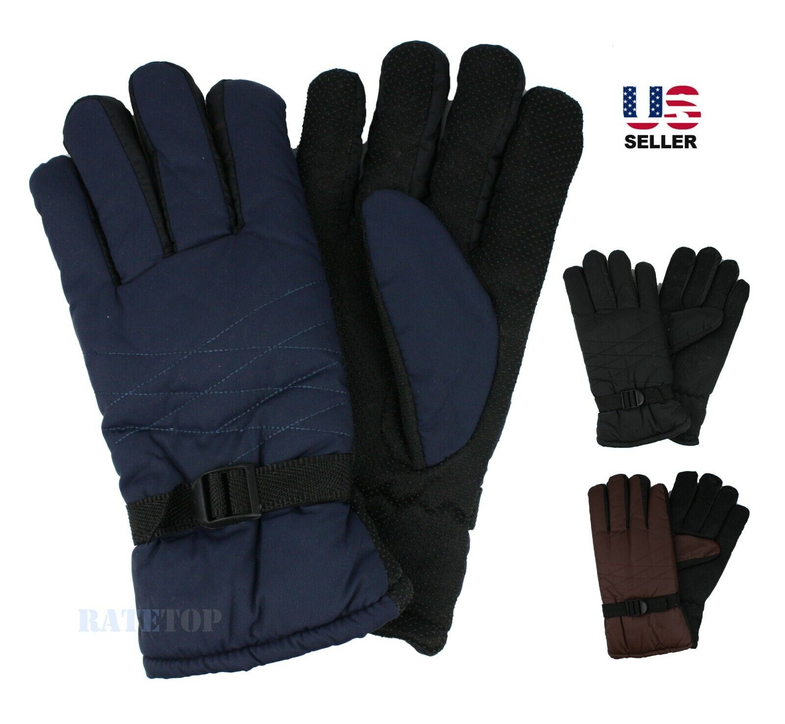 Mens Winter Thermal Thick Fleece Fur Lined Waterproof Snow Ski Gloves Mitten Clothing, Shoes & Accessories
