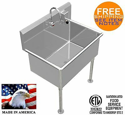 Wash Up Hand Sink 36x24x15deep Big Tub Heavy Duty Stainless Steel Elec Faucet