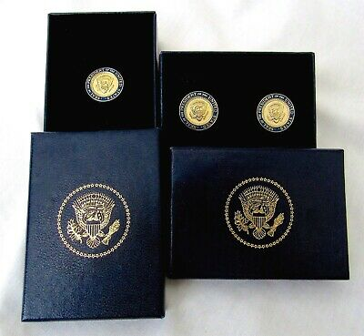 President George W Bush Cuff Links/Lapel Pin Lot White House Presidential Gold  Circle White Cufflinks