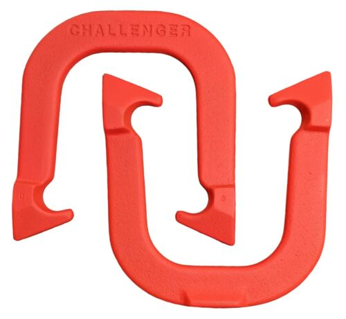Challenger Pro Professional Pitching Horseshoes- Red, One Pair, Made in USA