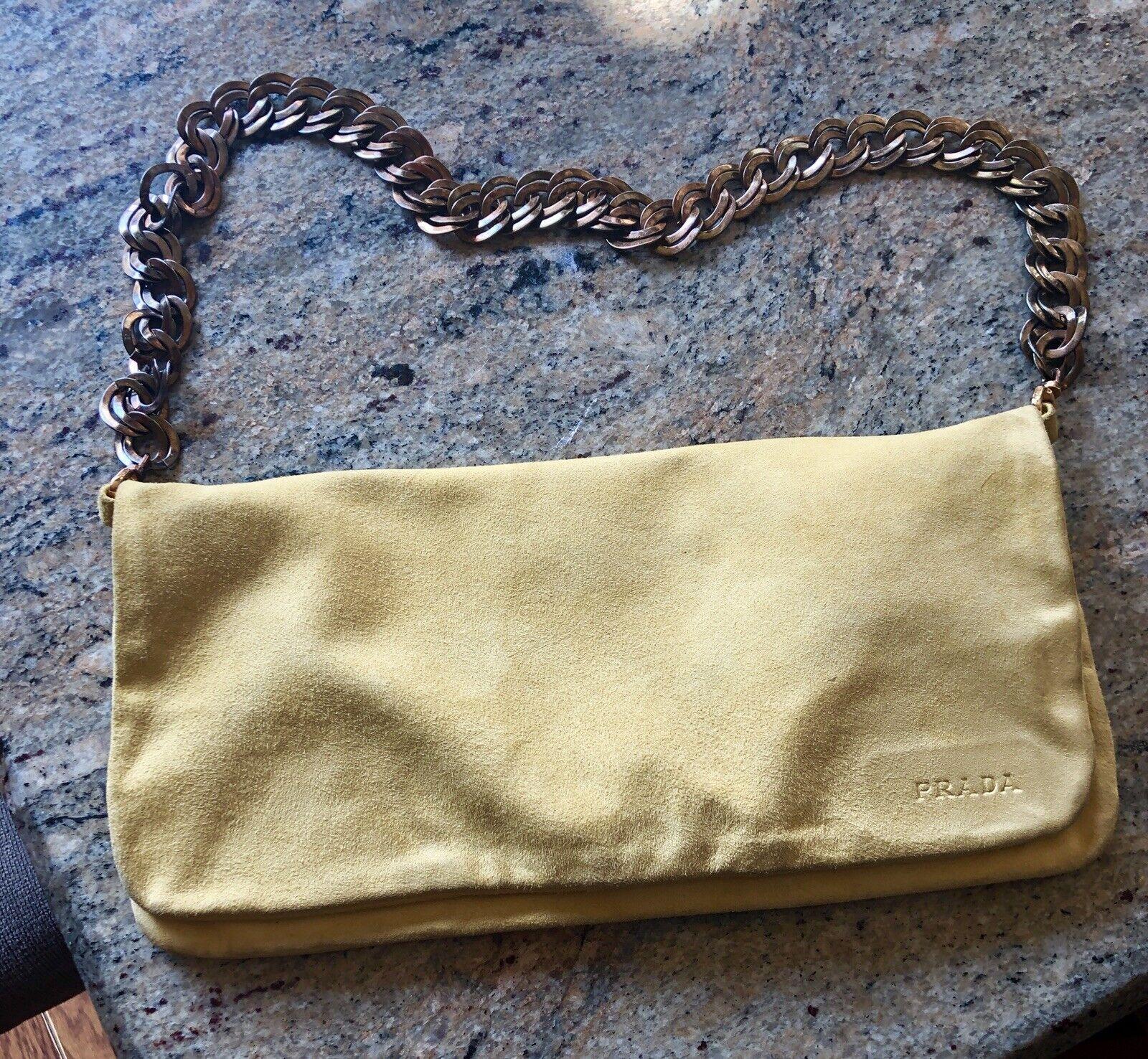 PRADA Handbag Yellow Soft Suede Envelope Chain Bag or Clutch