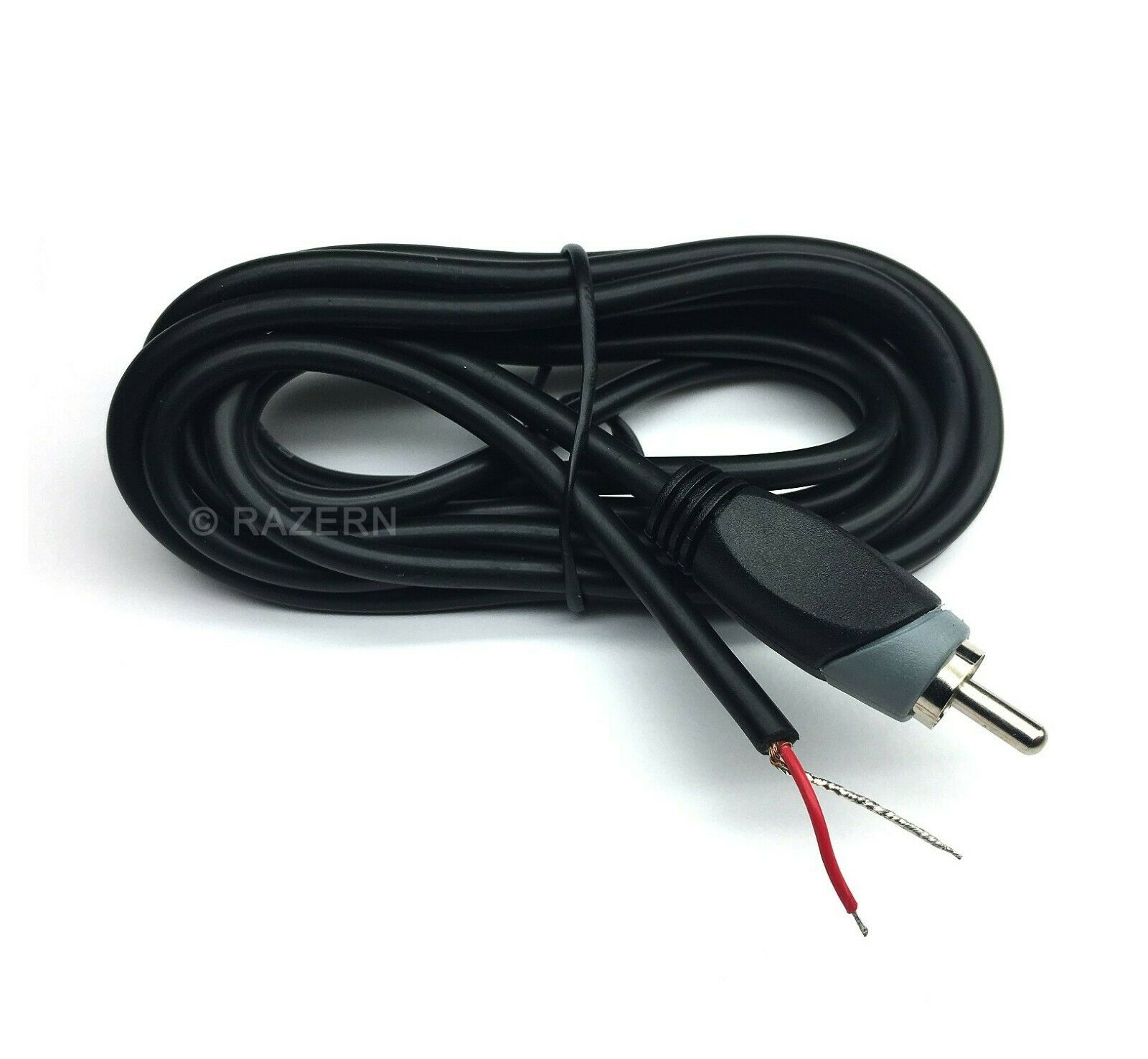 NEW 6 ft RCA Male Plug to Bare Wire Shielded Audio Speaker S