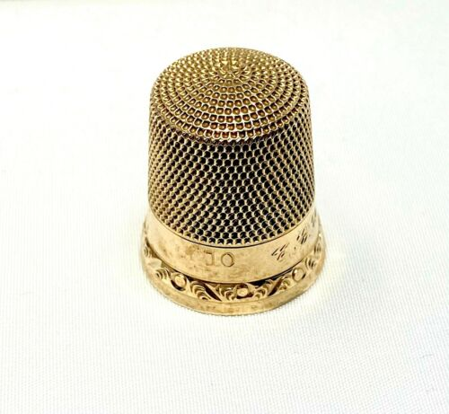 """antique  solid 10kt """"yellow gold thimble""""   *mint*  #2"""