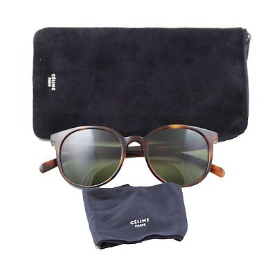 Celine CL41067/s Thin Mary Sunglasses Cat-eye Tortoise Havana Frame Green Lenses